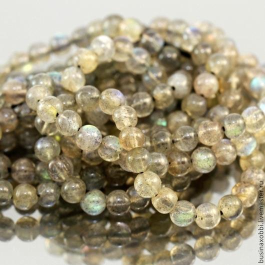 Бусины из натурального камня лабрадор формы шар диаметром около 4-5 мм нитками длиной 34 см для использования в сборке украшений Бусины не совсем правильной формы шар