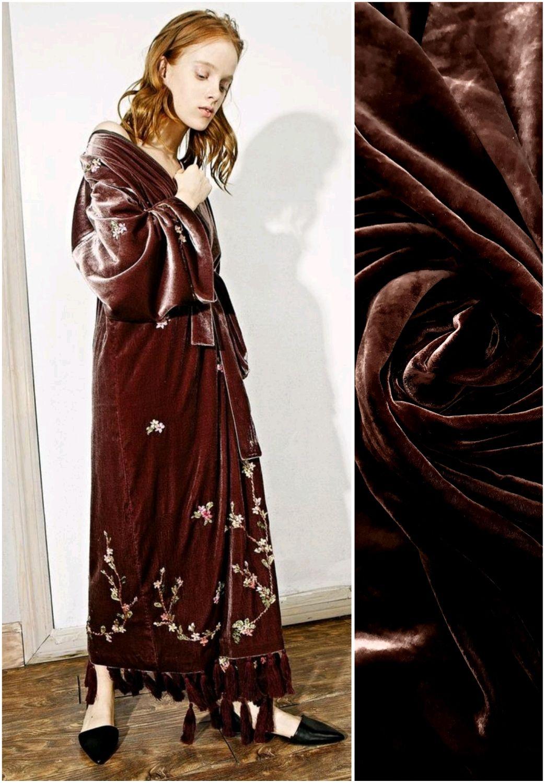 Ткань шелковый бархат шоколадный темно коричневый ,Италия, Ткани, Москва,  Фото №1