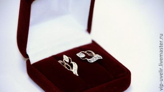 Серьги ручной работы. Ярмарка Мастеров - ручная работа. Купить Серьги из красного и белого золота 585 пробы с бриллиантами общим весо. Handmade.