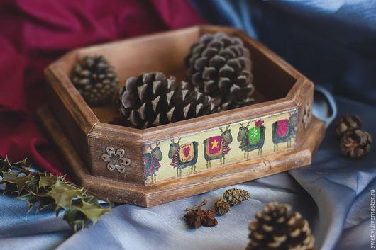"""Кухня ручной работы. Ярмарка Мастеров - ручная работа. Купить поднос-конфетница """"Новогодний"""". Handmade. Коричневый, поднос ручной работы"""