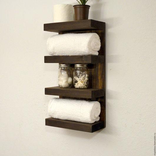Мебель ручной работы. Ярмарка Мастеров - ручная работа. Купить Полка для ванной комнаты, темная. Handmade. Коричневый, для прихожей, рустик