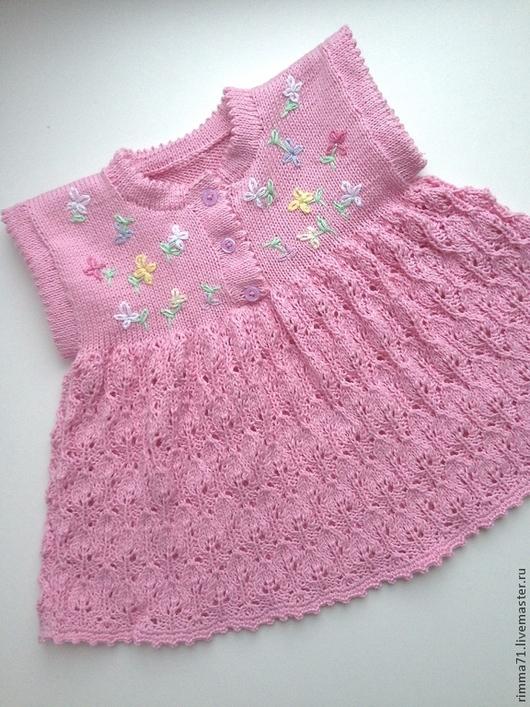 Одежда для девочек, ручной работы. Ярмарка Мастеров - ручная работа. Купить Вязаное платье для новорожденной. Handmade. Розовый, платье вязаное