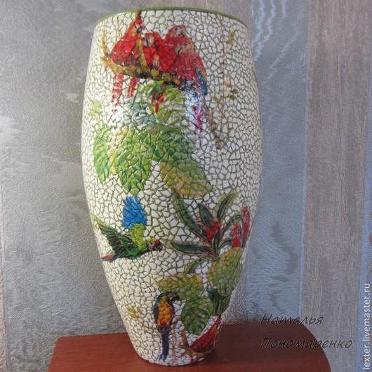 Вазы ручной работы. Ярмарка Мастеров - ручная работа. Купить Вазы ручной работы. Стеклянная ваза  Попугаи. Handmade. листья