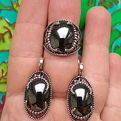 Украшения handmade. Livemaster - original item @ Oval earrings and ring with natural stones, silver plated. Handmade.