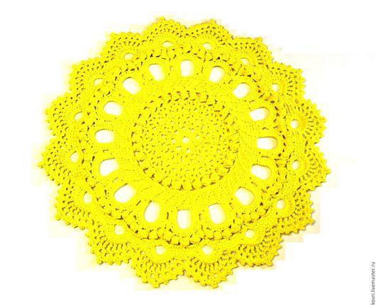Текстиль, ковры ручной работы. Ярмарка Мастеров - ручная работа. Купить Вязаный коврик Лимонный. Handmade. Лимонный, коврик для детской