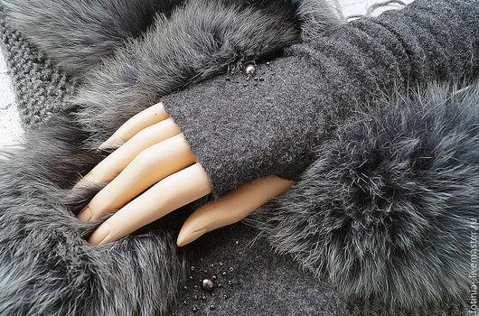 Варежки, митенки, перчатки ручной работы. Ярмарка Мастеров - ручная работа. Купить митенки валяные ЧЕРНАЯ ЖЕМЧУЖИНА без пальчика. Handmade.
