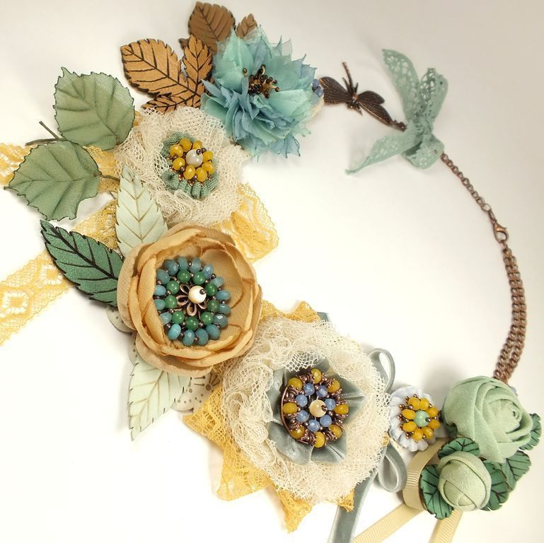 Honey - Mint Wormwood. Necklace and brooch - hair clip, Jewelry Sets, St. Petersburg,  Фото №1