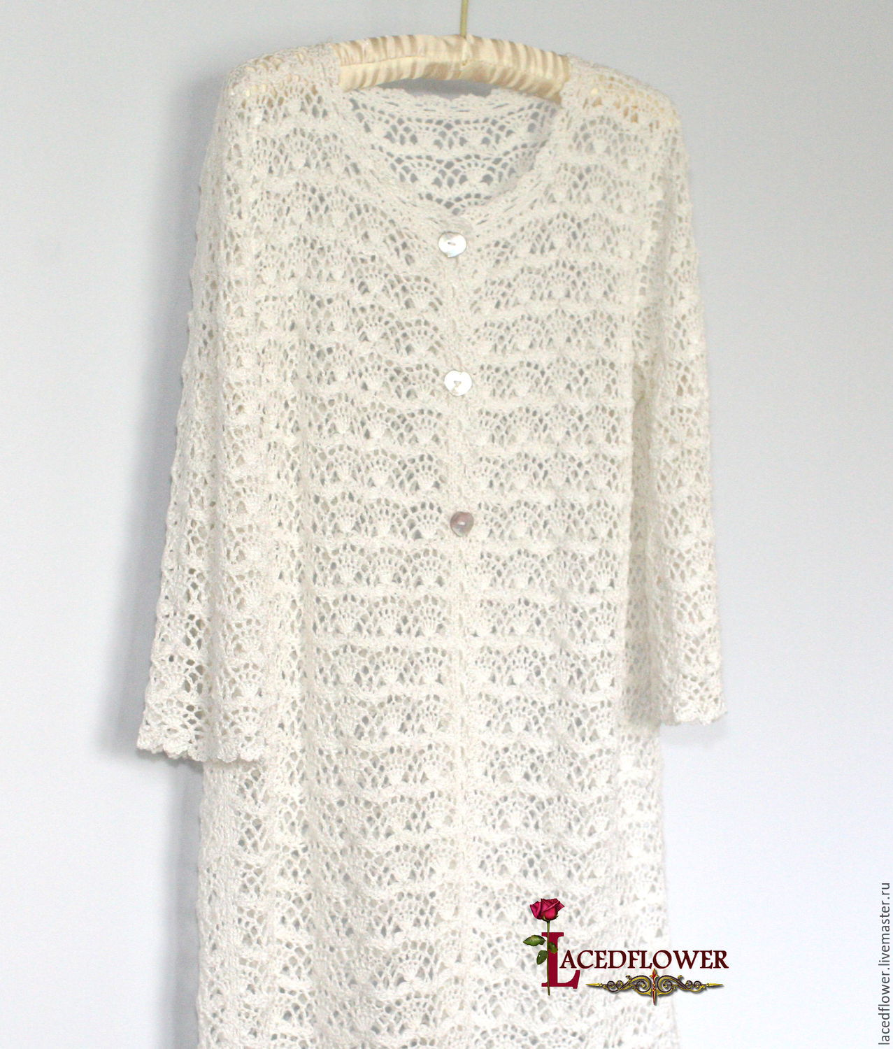 Summer cardigan Lace coat. This model is crocheted of textured yarn ( cotton with viscose). © https://www.livemaster.ru/item/edit/15614475