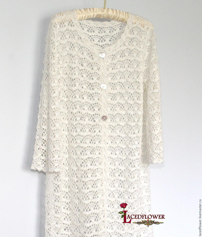 Buy White Summer Crochet Coat cardigan Lace Cotton Viscose on ...