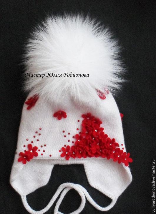 Шапки и шарфы ручной работы. Ярмарка Мастеров - ручная работа. Купить Зимняя вязаная шапочка для девочки. Handmade. Белый, цветочный