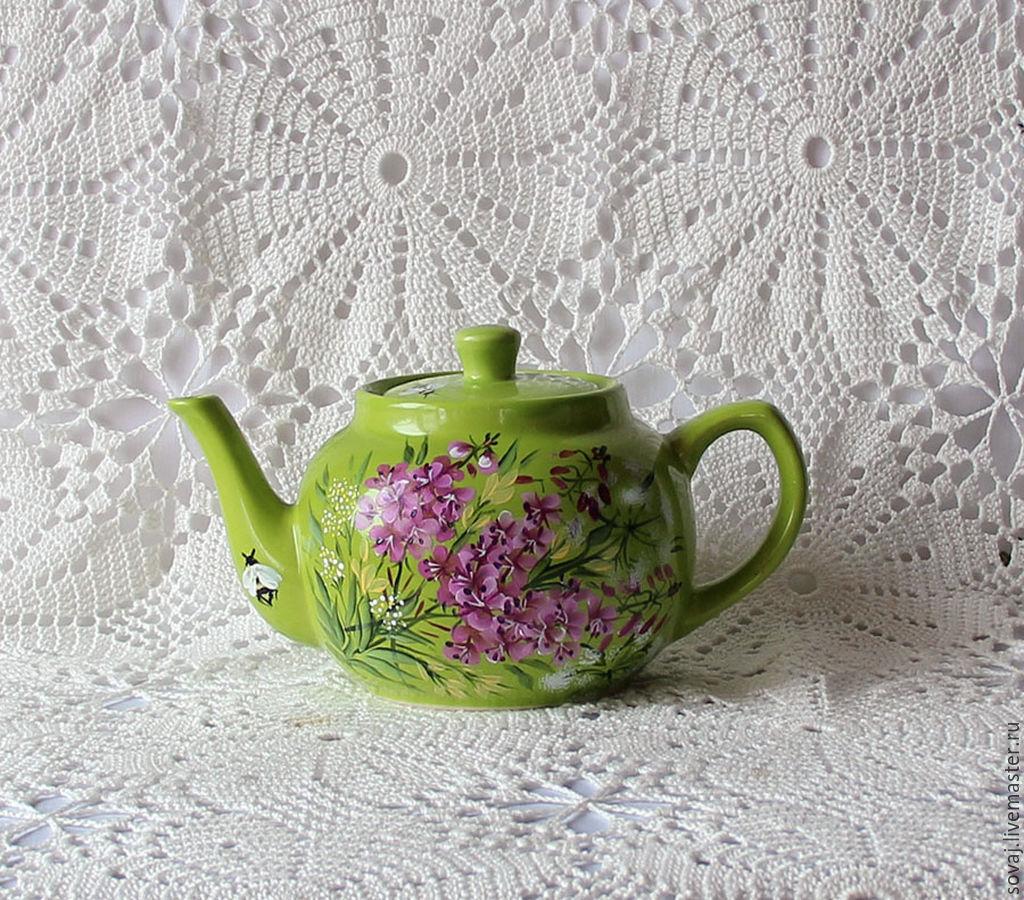 """Керамический заварочный чайник с росписью """" Кипрейный чай"""", Чайники кофейники, Каменномостский, Фото №1"""