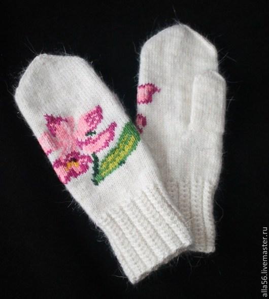 """Варежки, митенки, перчатки ручной работы. Ярмарка Мастеров - ручная работа. Купить Варежки """"Розовая орхидея"""". Handmade. Белый"""