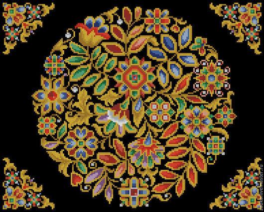 Вышивка ручной работы. Ярмарка Мастеров - ручная работа. Купить Сокровищница (узор для подушки). Handmade. Разноцветный, старые схемы