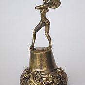 Сувениры и подарки handmade. Livemaster - original item Bronze bell With a tennis player. Handmade.