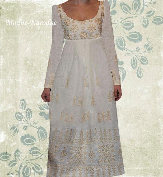 Льняное платье с ручной вышивкой Ампир.Творческое ателье Modne-Narodne. Модная одежда с ручной вышивкой.