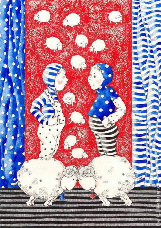 Юмор ручной работы. Ярмарка Мастеров - ручная работа. Купить Картина графика. Овечки. Спорщики. Handmade. Овечка, овцы, Овечки