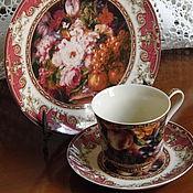 Винтаж ручной работы. Ярмарка Мастеров - ручная работа чайное трио в бордовых тонах. Handmade.