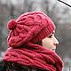 Берет вязаный, береты вязаные, женские береты, береты женские, берет женский, малиновый, бордовый, брусничный, красный, розовый, шапка шарф, шапка и шарф, шапка снуд.