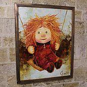 """Картины и панно ручной работы. Ярмарка Мастеров - ручная работа Картина в детскую """"На качелях"""" в рамке (масло). Handmade."""