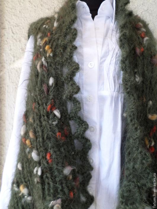 Болеро, шраг ручной работы. Ярмарка Мастеров - ручная работа. Купить Вязаный жилет - болеро Зеленое тепло. Handmade.