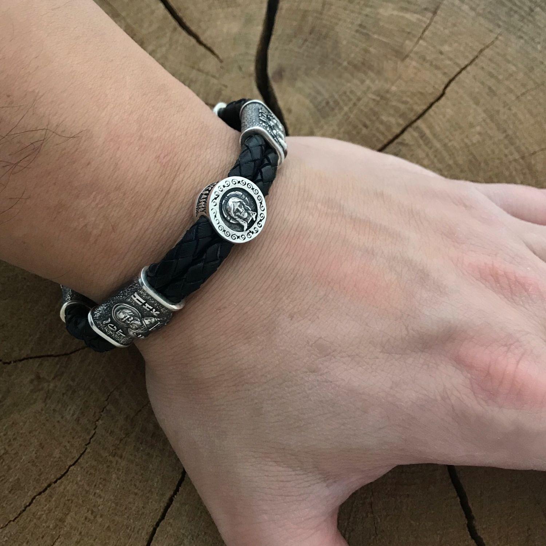 Кожаный плетёный браслет с серебряными вставками, Браслет из бусин, Харьков,  Фото №1