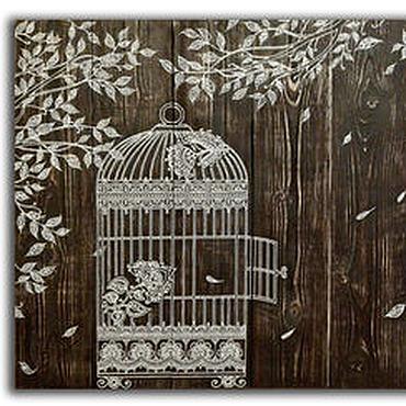 """Картины и панно ручной работы. Ярмарка Мастеров - ручная работа Панно на состаренных досках """"Колибри"""". Handmade."""