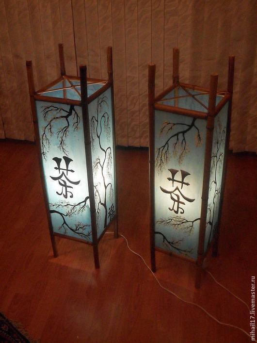 """Освещение ручной работы. Ярмарка Мастеров - ручная работа. Купить Светильник в китайском стиле """"Сакура"""". Handmade. Голубой, бамбук, шнур"""