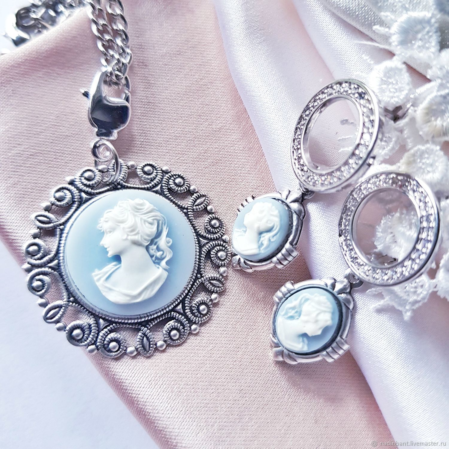 Set ' cameo in blue', Jewelry Sets, St. Petersburg,  Фото №1