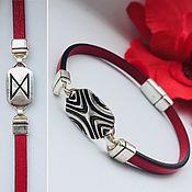 Украшения handmade. Livemaster - original item Bracelet with runoy Dagaz, silver, leather, handmade. Different colors. Handmade.