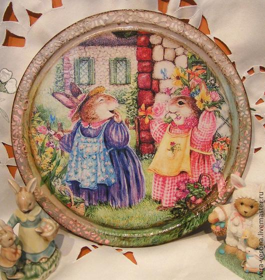"""Кухня ручной работы. Ярмарка Мастеров - ручная работа. Купить Декоративное панно- доска """" Волшебный садик """". Handmade."""