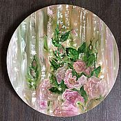 Картины и панно handmade. Livemaster - original item Pictures: Abstract oil painting with rose flowers. Handmade.