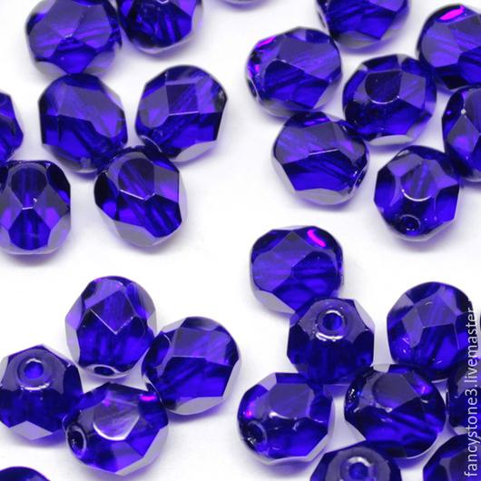 Для украшений ручной работы. Ярмарка Мастеров - ручная работа. Купить 30шт 6мм Чешские граненые бусины кобольт Fire polished beads. Handmade.