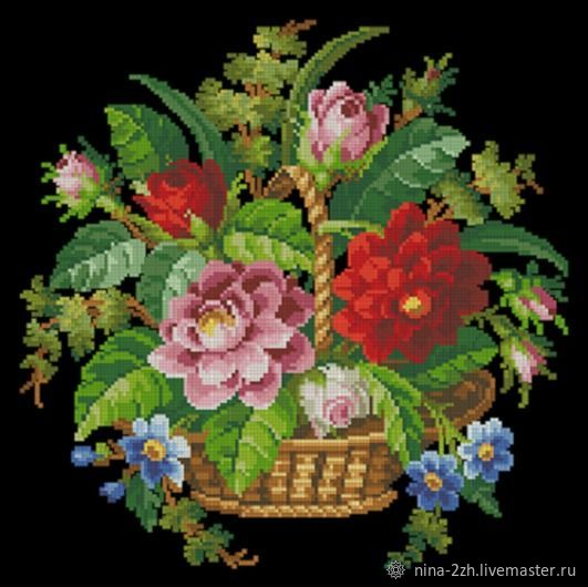 The scheme for embroidery: Flower basket, Patterns for embroidery, Penza,  Фото №1