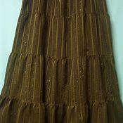 Одежда ручной работы. Ярмарка Мастеров - ручная работа Юбка хлопок+п/э+люрекс Темно-Зелёная длинная. Handmade.