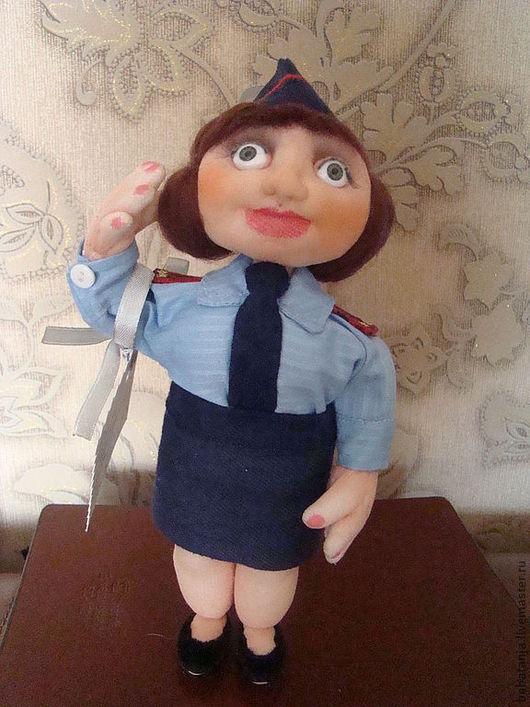 """Человечки ручной работы. Ярмарка Мастеров - ручная работа. Купить куклаиз капрона """"Девушка полицейский"""". Handmade. Синий, ткань хлопок"""