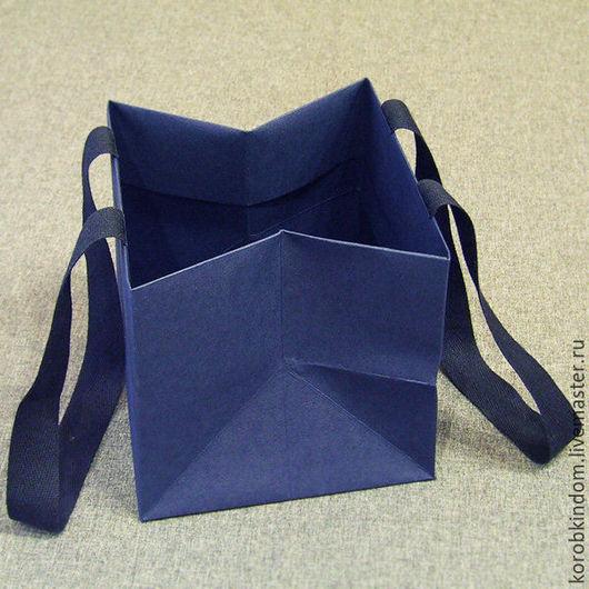 Упаковка ручной работы. Ярмарка Мастеров - ручная работа. Купить Пакет-кубик 15х15х15 синий с ручками из лент. Handmade. Пакет