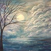 """Картины и панно ручной работы. Ярмарка Мастеров - ручная работа Картина """"Лунная ночь"""" , абстракция, авторская живопись. Handmade."""