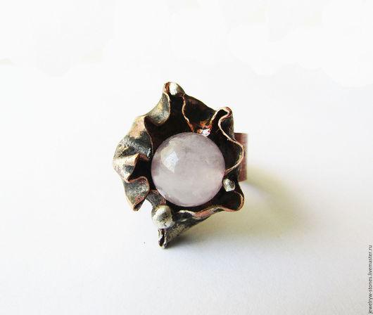 Кольца ручной работы. Ярмарка Мастеров - ручная работа. Купить Кольцо с розовым кварцем. Handmade. Бледно-розовый, кольцо с натуральным