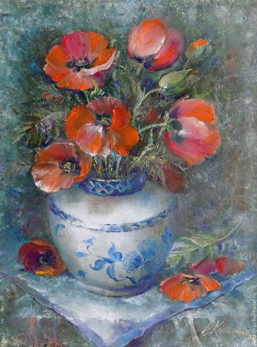 Картины цветов ручной работы. Ярмарка Мастеров - ручная работа. Купить Маки в китайской вазе. Handmade. Маки, картина в подарок