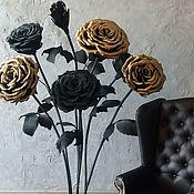 Свадебный салон ручной работы. Ярмарка Мастеров - ручная работа Бумажные черно-золотые розы. Handmade.