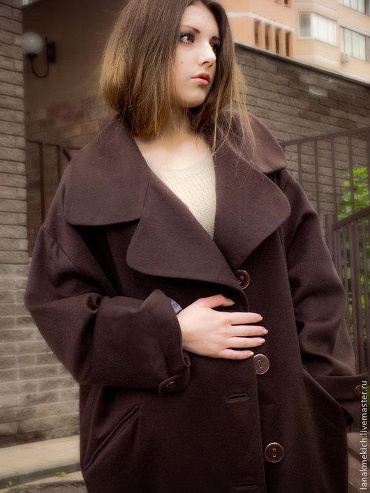 """Большие размеры ручной работы. Ярмарка Мастеров - ручная работа. Купить пальто-кокон осеннее кашемир """"Fashion"""". Handmade. Коричневый"""