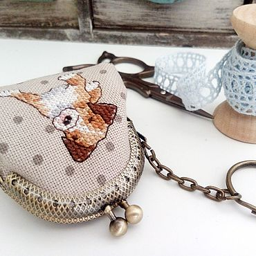 Accessories handmade. Livemaster - original item Purse keychain with clasp hand embroidery puppy. Handmade.