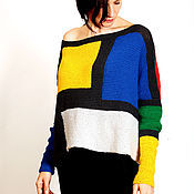 Одежда ручной работы. Ярмарка Мастеров - ручная работа Туника джемпер из хлопка с акрилом свободного облегания - VIVA ISL. Handmade.