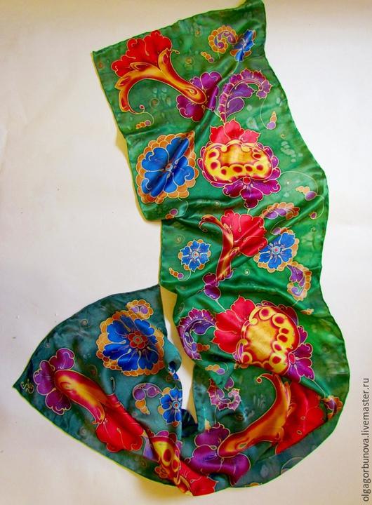 """Шарфы и шарфики ручной работы. Ярмарка Мастеров - ручная работа. Купить Батик шарф """"Хозяйка медной горы"""". Handmade."""
