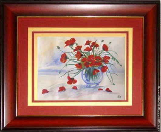 """Пейзаж ручной работы. Ярмарка Мастеров - ручная работа. Купить Картина """"Маки в вазе"""". Handmade. Разноцветный, картина цветов, handmade"""