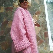 Одежда ручной работы. Ярмарка Мастеров - ручная работа Вязаное пальто-халат оверсайз из мохера. Handmade.
