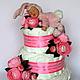 """Подарки для новорожденных, ручной работы. Ярмарка Мастеров - ручная работа. Купить Торт из памперсов """"Малышке"""".. Handmade. Торт, подарок новорожденной"""