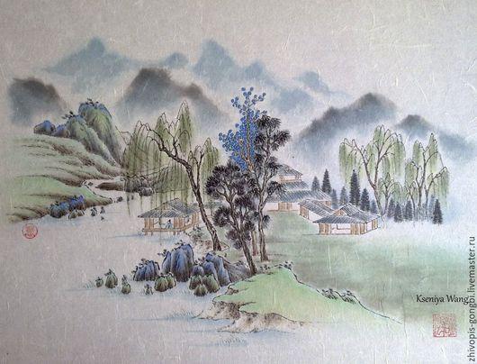 Пейзаж ручной работы. Ярмарка Мастеров - ручная работа. Купить Китайский весенний пейзаж. Handmade. Зеленый, китайская живопись