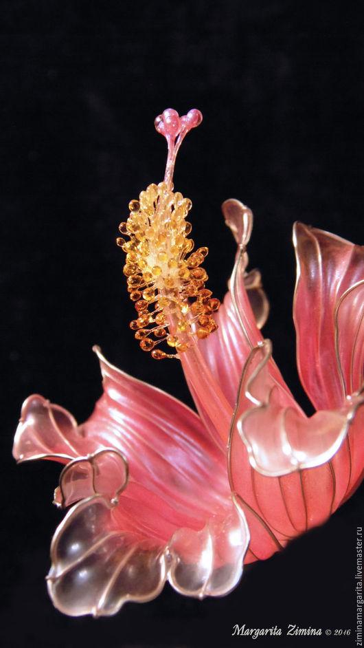 Диадемы, обручи ручной работы. Ярмарка Мастеров - ручная работа. Купить Гибискус (Hibiscus). Шпилька для волос. Handmade. Бледно-розовый