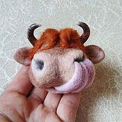 Украшения handmade. Livemaster - original item Felted Bull Brooch. Cow`s Nose.. Handmade.